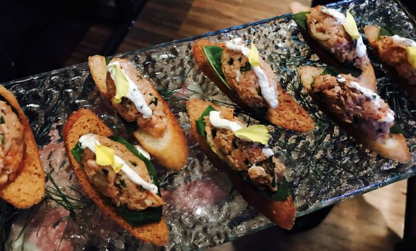 Trout crostini at Women and Whisky event at LCBO