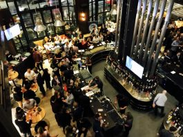 View of the bar from second floor at CRAFT Beer Market