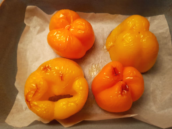 Bake peppers at 450°C for 20 minutes.