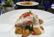 Bradford Bay Grilled Chicken with acorn squash, fingerling potatoes, pomegranate yogourt at Azure Restaurant
