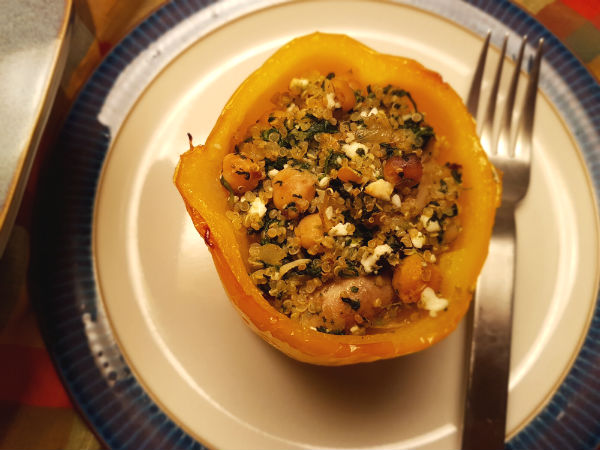Stuffed Peppers with Spinach, Quinoa, Chickpeas and Feta