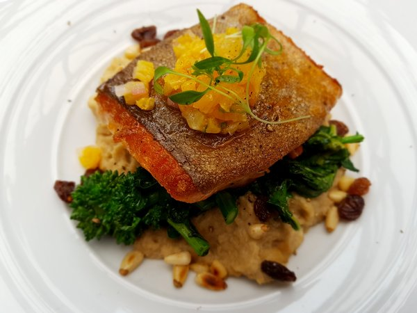 Pan Roasted Arctic Char with fennel puree, rapini, orange salsa and pine nuts at Winterlicious at Azure Restaurant