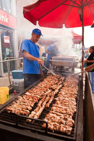Kabobs at Pilaros Taste of the Danforth, photo Neil Ward