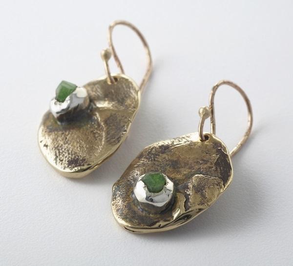 Bronze, tsavourite garnet and sterling silver earrings by Melanie LeBlanc, $400