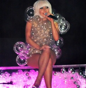 Lady Gaga in bubble dress, photo by Stephen Carlile