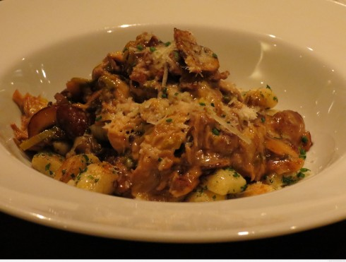 Braised rabbit with gnocchi, leeks and oyster mushrooms