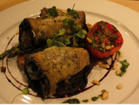 Goat Cheese and Spinach Stuffed Eggplant Cannelloni at Blumen