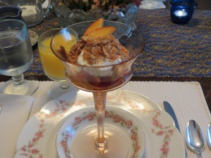 Yogourt with fruit and almonds at Hillsdale House