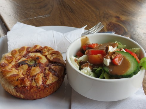 Chicken Pot Pie with side salad at Canadian Pie Company