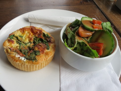 Goat cheese and spinach quiche with side salad