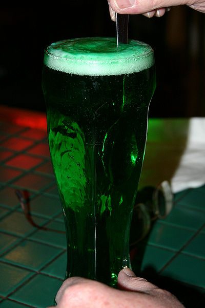 Green beer is popular on St. Patrick's Day, photo SpaceAgeSage