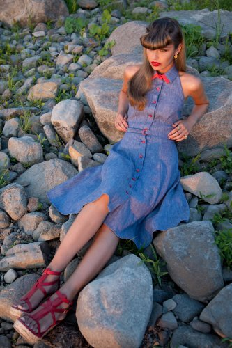 Veronica Lake blue sundress from Annie 50, $195