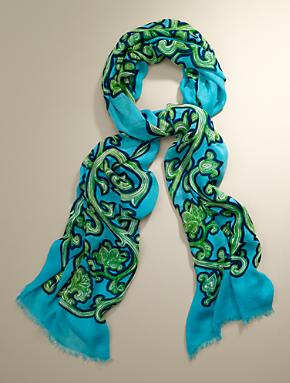 Scroll Wrap Turquoise Ladies Scarf from Talbot's, $59.50