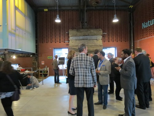 Guests mingle at Beautiful Heat event at Evergreen Brick Works
