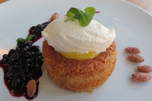 Lemon Polenta Cake with Blueberry Compote at Cafe Belong