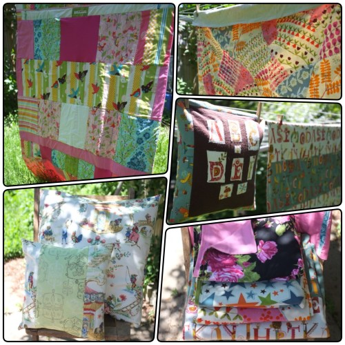 Quilts and pillows from Broody Hen at Leslieville Flea