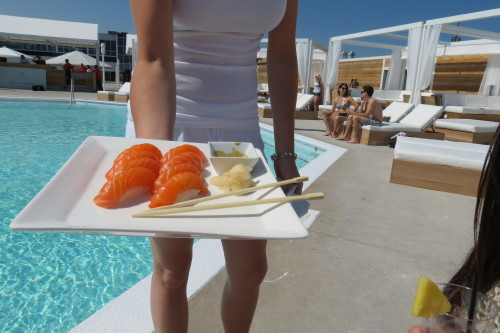 Salmon sushi at Cabana Pool Bar