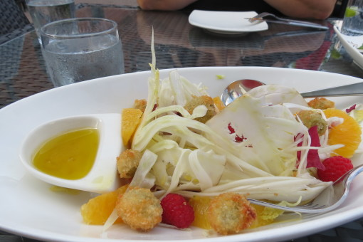 Amaretta Mista salad with Belgian endive, radicchio, orange, raspberries in a balsamic vinaigrette