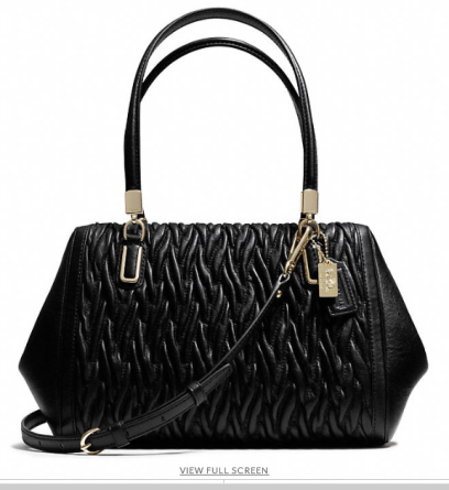 Madison Small Madeline East West Satchel in Black Twisted Leather from Coach, $458