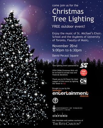 Christmas Tree Lighting at David Pecaut Square, photo CNW Group Toronto Entertainment District BIA