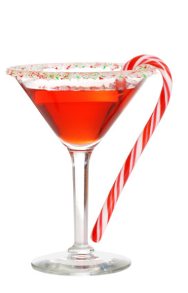 Candy Cane Martini with Iceberg Vodka and Peppermint Schnapps