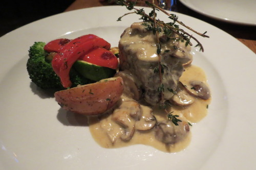 Filet mignon with portobello mushroom truffle sauce at Destingo