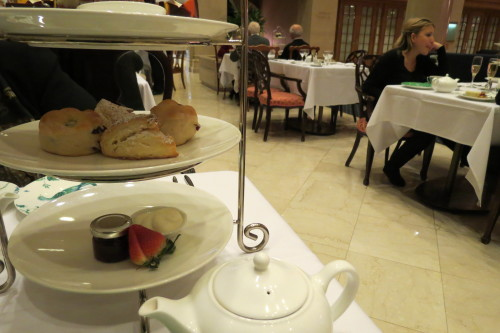 Scones with Devonshire Cream and strawberry jam at King Edward Hotel