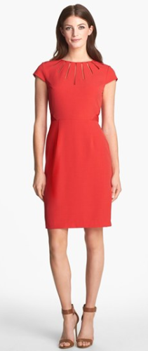 Adrianna Papel Cutout Neck Crepe Sheath Dress at Nordstrom, C$158.57