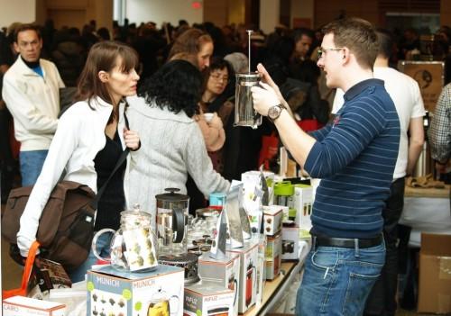Visitors discuss tea at the Toronto Tea Festival, photo Toronto Tea Festival