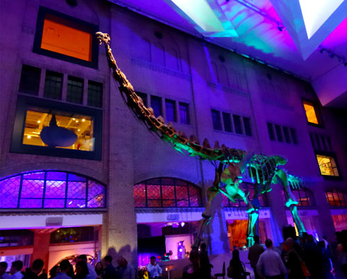 Massive dinosaur greets you at the party