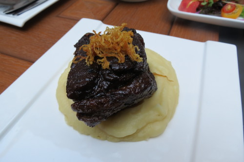 Braised beef short ribs with celeriac puree at SkyLounge