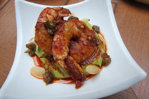 Garlic Chili Shrimp with avocado puree at SkyLounge