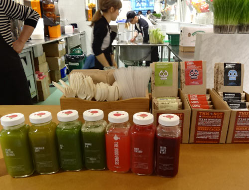 Organic juices at The Good Press, Toronto