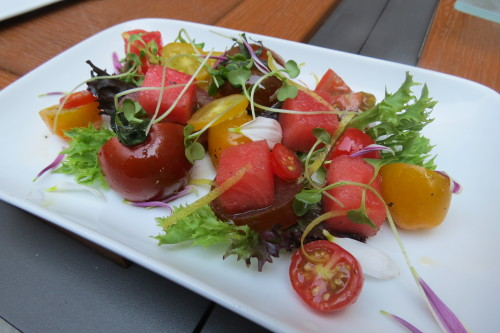 Pintxo Salad with heirloom tomatoes, watermelon, sherry vinegar, olive oil