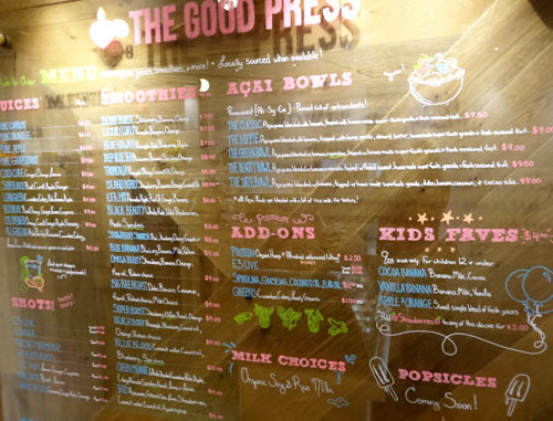 The Good Press menu, Yorkville