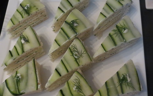 Cucumber and cream cheese sandwiches at Four Seasons Yorkville