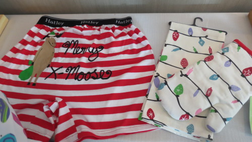 Hatley boxers, oven mitts and tea towels