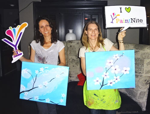 Jeanette and Diana showing off artistic skills.