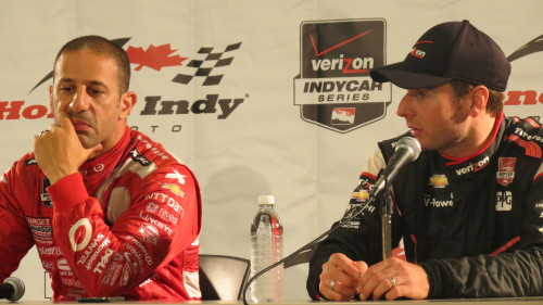 Tony Kanaan and Will Power at post-race conference for Honda Indy Toronto 2014, photo Lori Bosworth