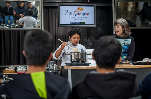 Cookie Martinez and Mary Luz Mejia at cooking demo