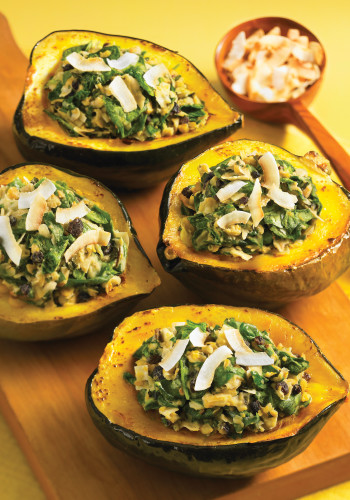 Acorn Squash with Coconut Chickpea Stuffing from The Complete Coconut Cookbook