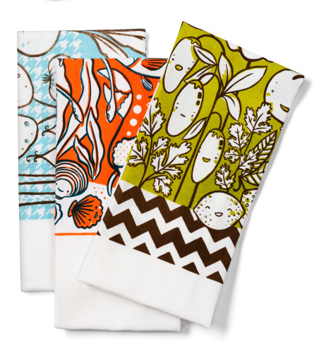 Flour sack tea towels with handprinted designs $18 each by Claire Manning of Claire Manning Illustration and Design