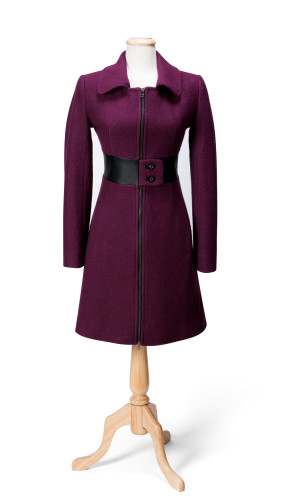 Plum zipper coat $499 by Domenic & John Pizzonia, Coats By Mary Ellen