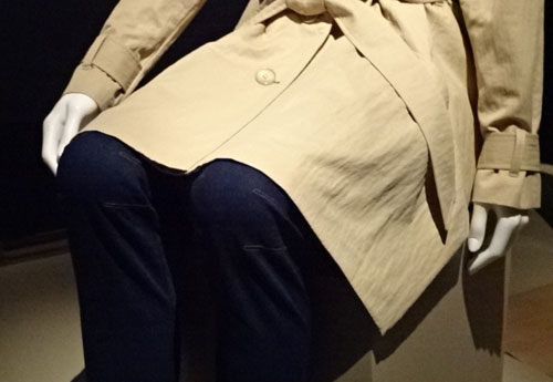 Trench coat and pants at Fashion Folllows Form at the ROM
