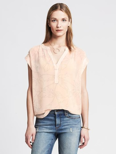 Heritage Printed Blouse in Pink Blush from Banana Republic, $95