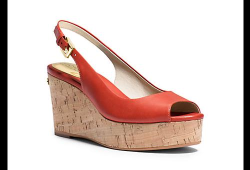 Natalia Leather Peep Toe Wedge from Michael Kors, $135