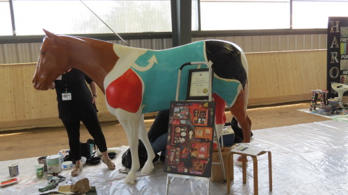 A fibreglass horse statute part of Caledon's parade of horses for 2015 Pan Am Games