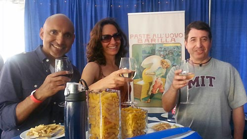 Savouring red and white wine with the pasta, while taking in the street scene at Taste of Little Italy
