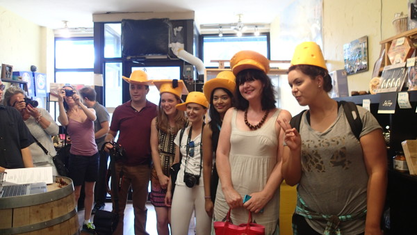 Complimentary hats at Art of Cheese