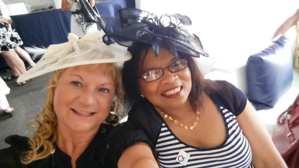 My friend and I in our fascinators at the 2015 Queen's Plate